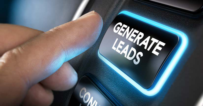 Man pressing a button that reads: generate leads